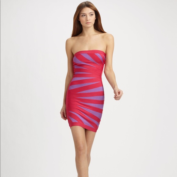 4358cf16f4f2 Herve Leger Dresses   Skirts - Pink   purple Herve Leger strapless bandage  dress